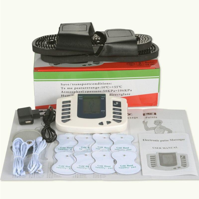 Electro máquina de dezenas massageador electrostimulator pad estimulador muscular eletrodo fisioterapia ems almofadas de treinamento com chinelo + 8