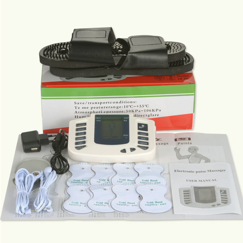 Tens massager machine electro stimulator pad electrode muscle electrostimulator physiotherapy ems training with slipper+8 padsTens massager machine electro stimulator pad electrode muscle electrostimulator physiotherapy ems training with slipper+8 pads