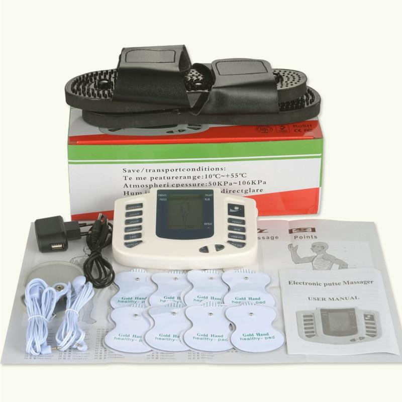 Zehn massager maschine electro stimulator pad elektrode muscle electrostimulator physiotherapie ems training mit pantoffel + 8 pads