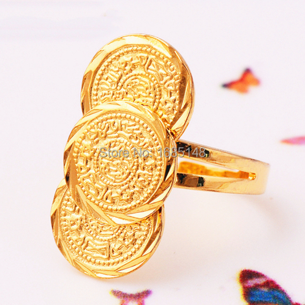 Unique Golden Coin Design 14K Gold Filled Adjustable Ring Hot