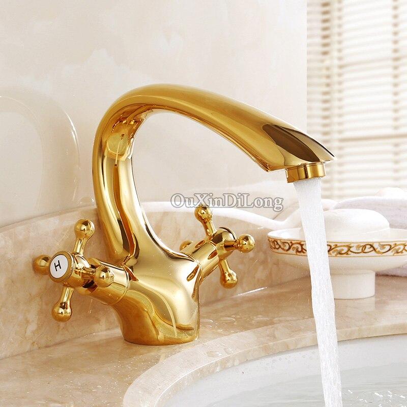 Golden/Rose Golden Swan Neck Bathroom Basin Faucet Dual Handles Vanity Sink Single Hole Mixer Tap GD04 single handle golden swan faucet bathroom basin faucet vanity sink mixer tap