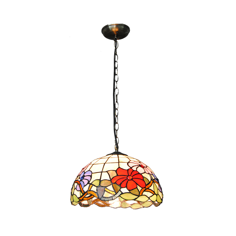 European Flowers Pendant Lights For Dining Room Hallway Bedroom Balcony Porch Stained Glass Suspension Lamp Light Fixtures PL724 3 lights floral crystal light fixture crystal pendant hanging suspension light mcp0520 for dining room aisle hallway porch