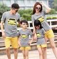 Free Shipping Family clothes mother father Girls Boys set cartoon t shirt+ Yellow pants Kids children Outfits