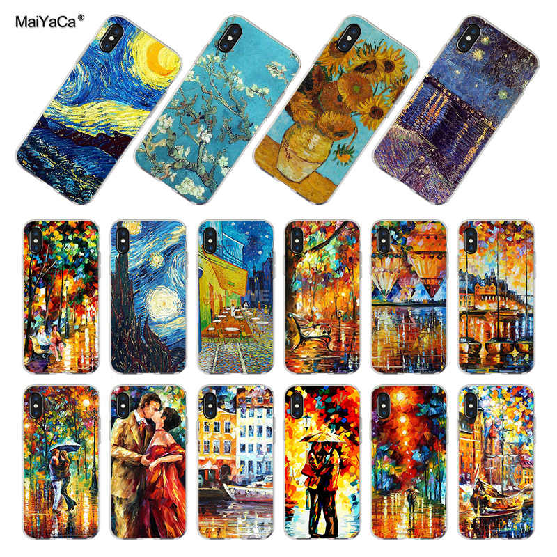 MaiYaCa Van Gogh Starry Night Tardis Transparante Coque Cover Case voor iPhone X 8 7 6 6S Plus XS XR XSMAX 4S Case Shell