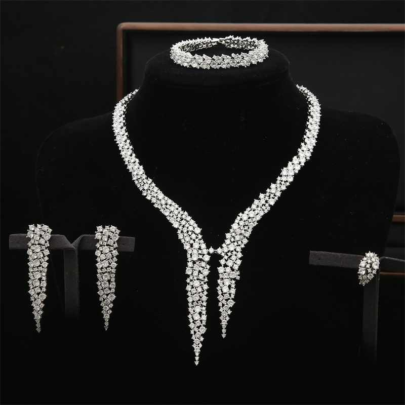 Newest Coming 4pcs Cubic Zircon Bridal Engagement Flower Gold Silver Jewelry Set for Ladies Copper Statement Jewelry Set