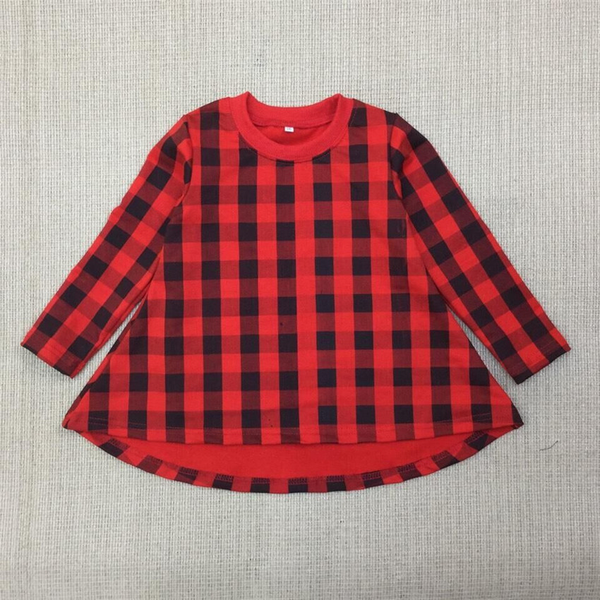 Cospot 2018 New Baby Girl Dress Spring Long Sleeve Red Plaid