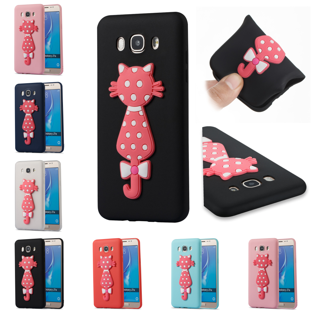 For Sumsung Samsug Galax Galaxy J7 2016 J710 3D Cat Cute Cartoon TPU Soft Bag Cover Cubierta Phone Case