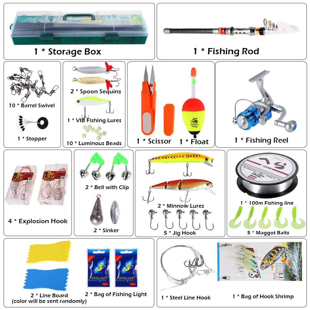 Lixada moulinet de pêche filature ensemble de matériel de pêche 56 pièces avec canne à pêche de mer télescopique appâts crochets boîte Kit Pesca