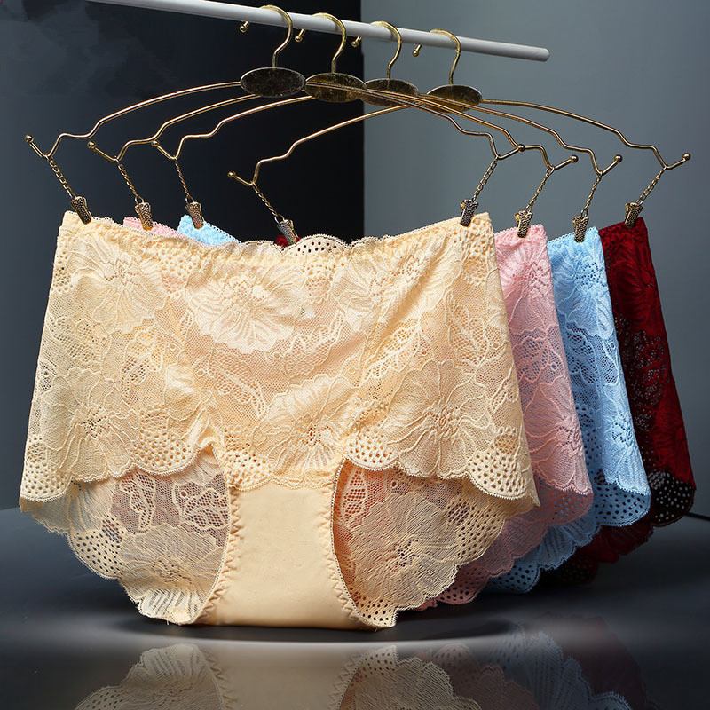 4Pcs/lot ropa interior femeni sexy Lingerie Briefs Women Underwears plus size 5XL Lace Flower Transparent hollow Women's Panties