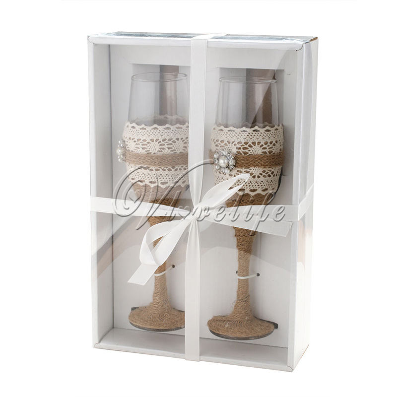 Burlap Wedding Toasting Glasses Champagne Wine Cup With Gift Box