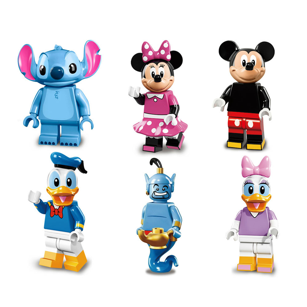 6PCS 892 Cartoon Minnie Donald Duck Daisy Stitch Aladdin Genie Toys Set,DIY Play Toys for Kids