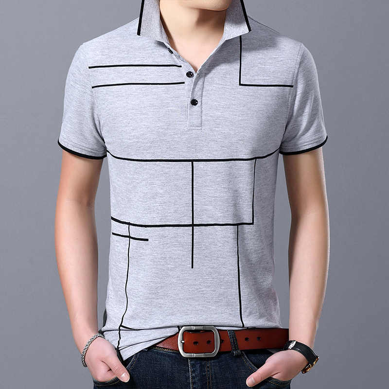 2019 New Fashion Brand Polo Shirt Men's Plaid Top Grade Summer Short Sleeve Slim Fit Cotton Boys Poloshirt Casual Men's Clothing