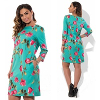 WJ 2017 Summer Autumn Ladies Rose Elegant Floral Print Dress Casual Women Large Size Fall Oneck