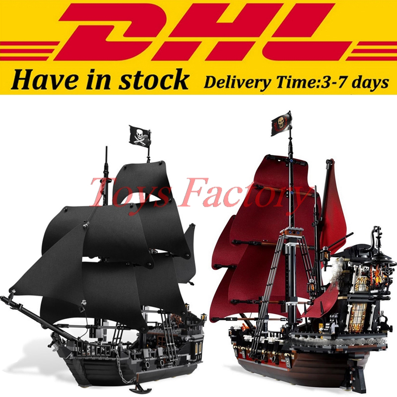 2017 DHL LEPIN 16006 Pirates of the Caribbean The Black Pearl+16009 Queen Anne's revenge Pirate Ship Building Blocks Set lepin 22001 1717pcs pirate ship imperial warships model building blocks toy compatible with legoe pirates caribbean 10210