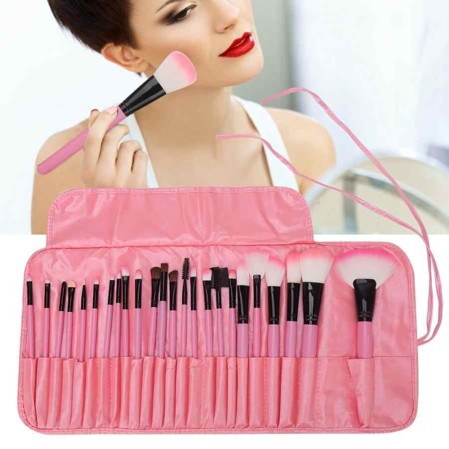 Make Up Brush 24Pcs Pink Wooden Handle Makeup Brushes Set Foundation Eyeshadow Lip Brush with Storage Bag Eye Makeup Brushes