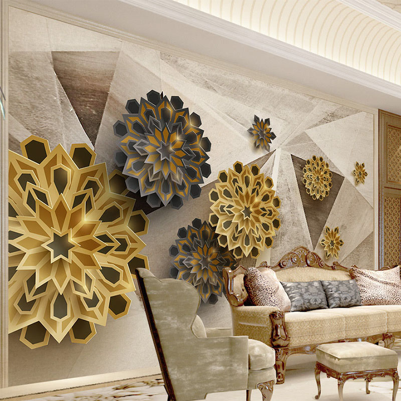 Photo Wallpaper Modern Fashion 3D Stereo Polygon Mural Wall Paper Retro Abstract Flower Living Room TV Backdrop Wall Home Decor 3d stereo relief peacock flowers mural photo wallpaper living room tv sofa study backdrop art wall paper for walls 3d home decor