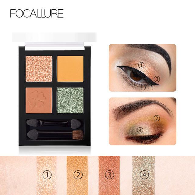FOCALLURE brand new 4 colors Glitter eyeshadow palette long lasting waterproof eye shadows palette for daily shadows 3