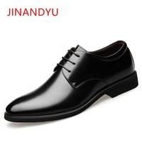 Height Increasing 6CM Elevator Wedding Shoes Men Genuine Leather Oxfords Elegant Men Formal Dress Shoes 2019 Bridegroom Shoes