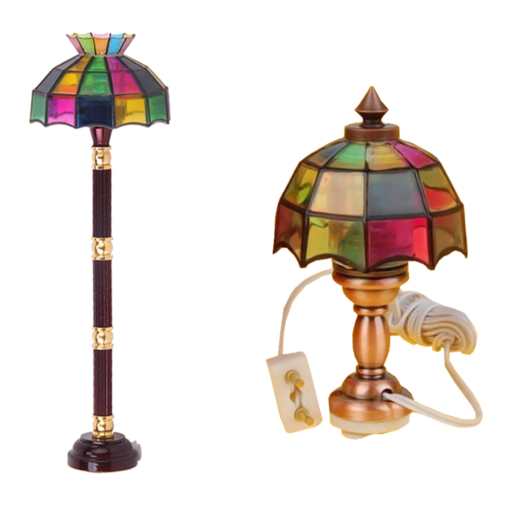 2Pcs Mini Floor Lamp Light With White Light Cover For 1//12 Scale Dollhouse