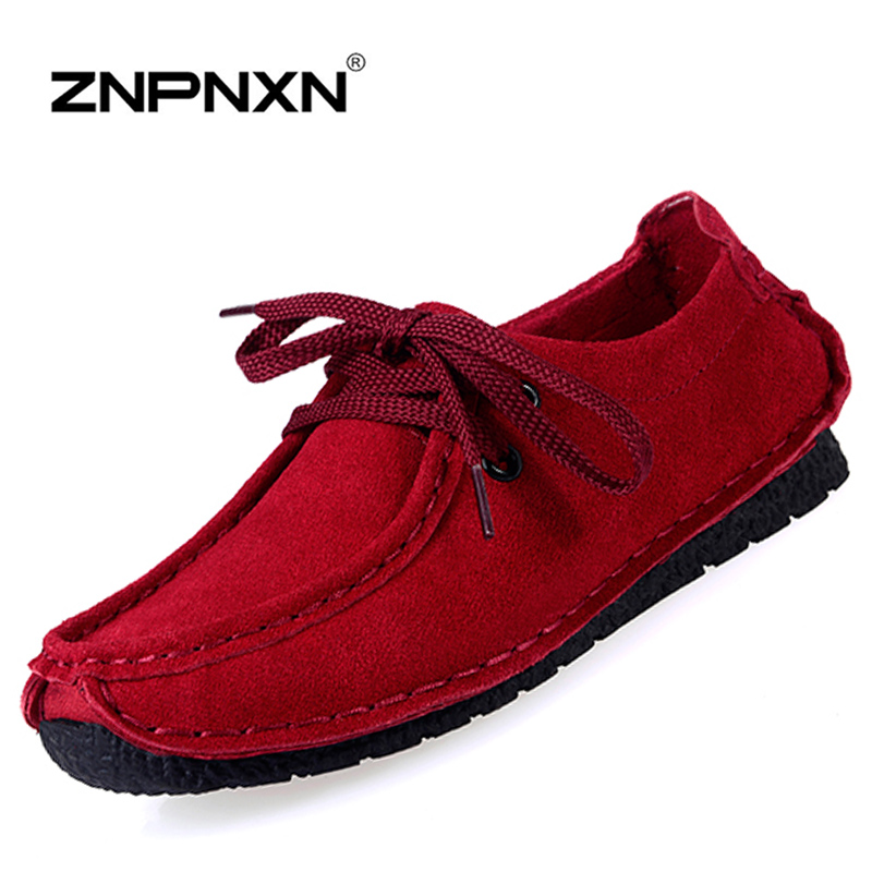 New 2016 Women Shoes Flat Shoes Women Leather Shoes Woman Mocassins Red Ladies Shoes Zapatos Mujer