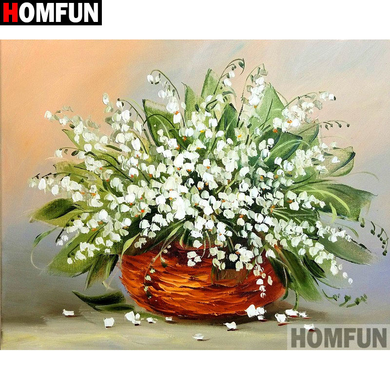 HOMFUN Full SquareRound Drill 5D DIY Diamond Painting Flower landscape Embroidery Cross Stitch 3D Home Decor Gift A11058