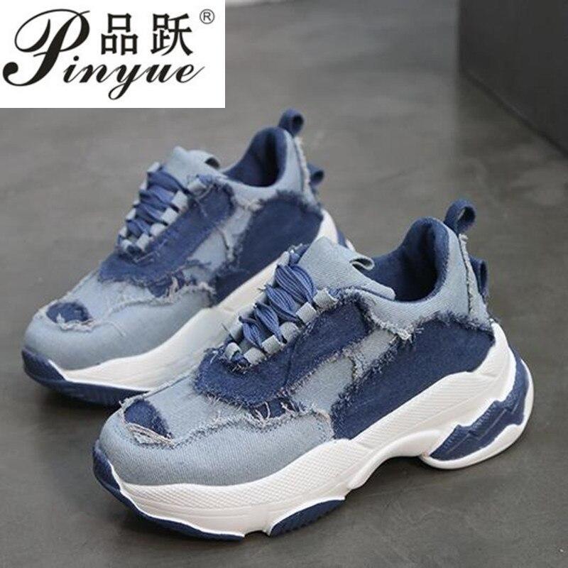 Nouveau 2019 Printemps Automne Dames Chaussures Denim mocassins Lace-Up Casual Chaussures Haute Plate-Forme Chaussures Femmes Sneakers Appartements tenis