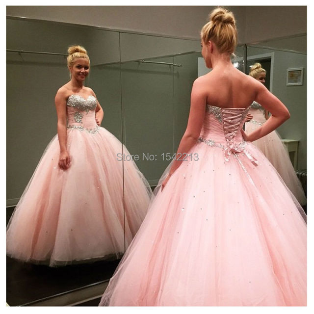 Ball Gown Style Pink Quinceanera Dress Plus Size Elegant Beaded ...
