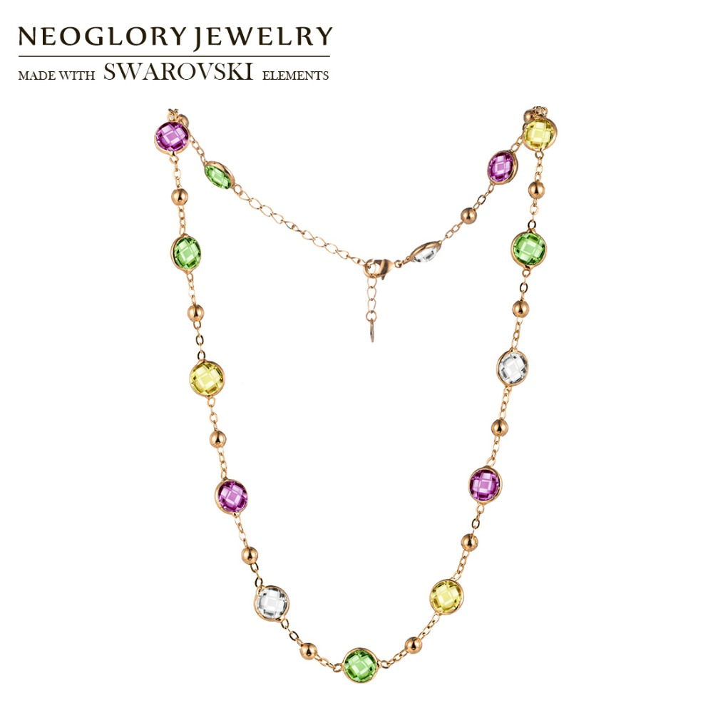 Neoglory MADE MIT SWAROVSKI ELEMENTE Kristall Bunte Runde Perlen Lange Charme Halskette Klassische Zwei Verwendet Für Dame Kleid Party