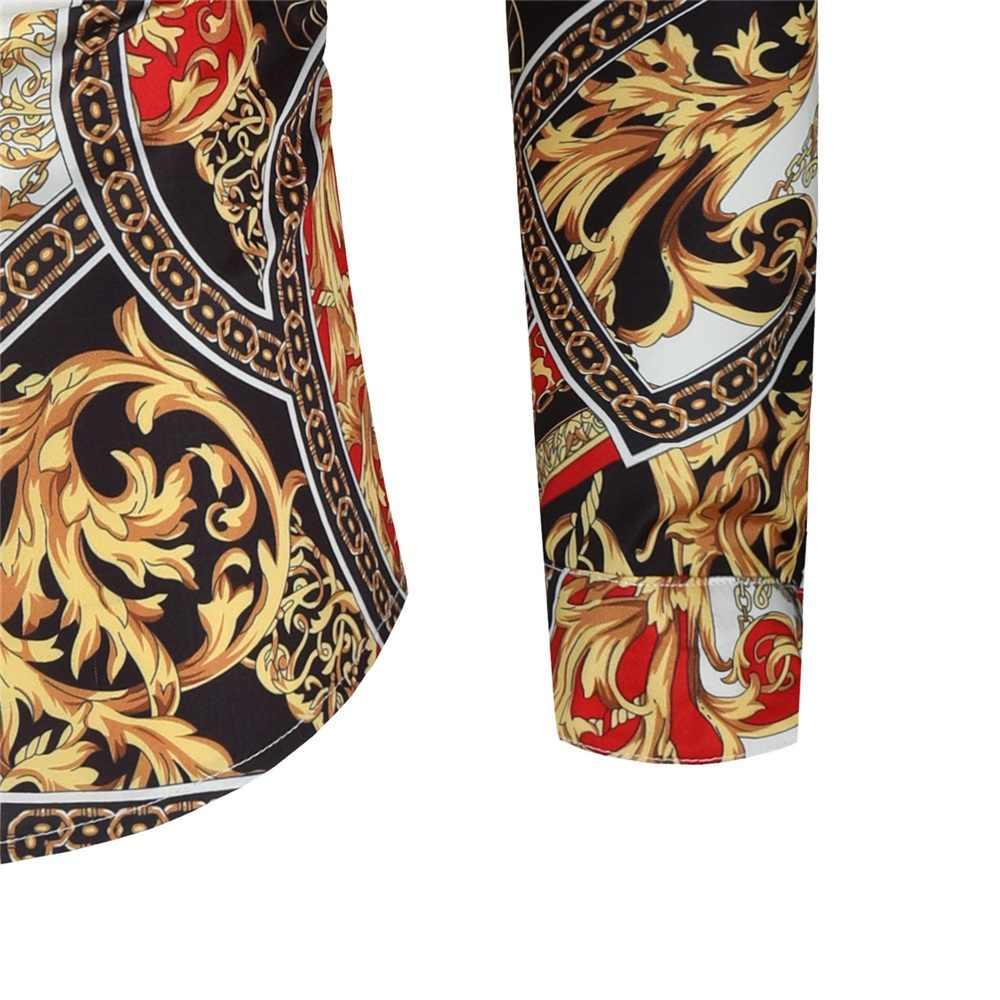 하와이 스타일 남성 긴 소매 인쇄 휴가 플러스 크기 캐주얼 스탠드 칼라 버튼 루스 셔츠 의류 컴포트 탑스