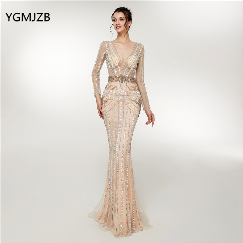 Real Photo Luxury Beaded Sequins   Evening     Dress   Long Sleeves 2018 Mermaid Sexy Champagne Women Formal Party Gown Prom   Dress