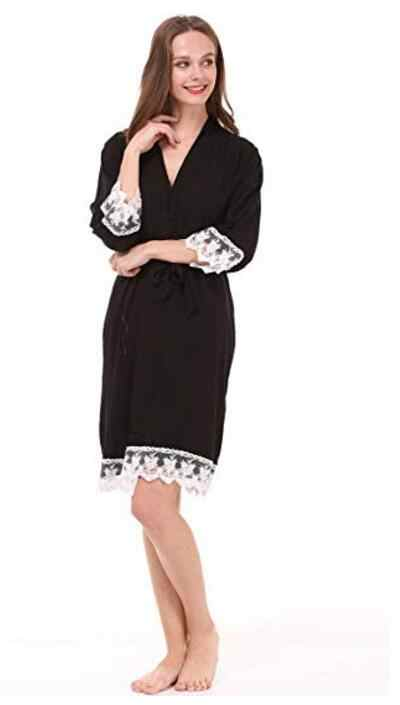 Baru Padat Kapas Kimono Jubah dengan Hiasan Renda Wanita Pernikahan Bridal Jubah Pendek Belt Jubah Mandi Baju Tidur 7 Warna Gratis Pengiriman