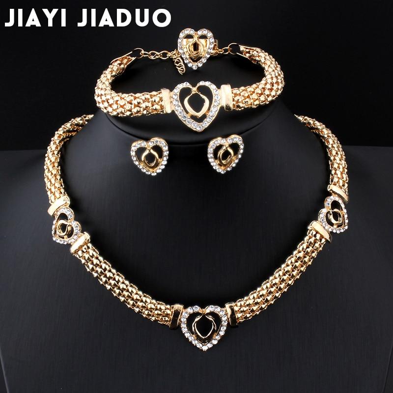 Brautschmuck Sets Zielsetzung Jiayijiaduo Schmuck Frauen Party Hochzeit Kristall Perlen Baumeln Anhänger Halskette Armband Ring Schöne Afrika Erklärung