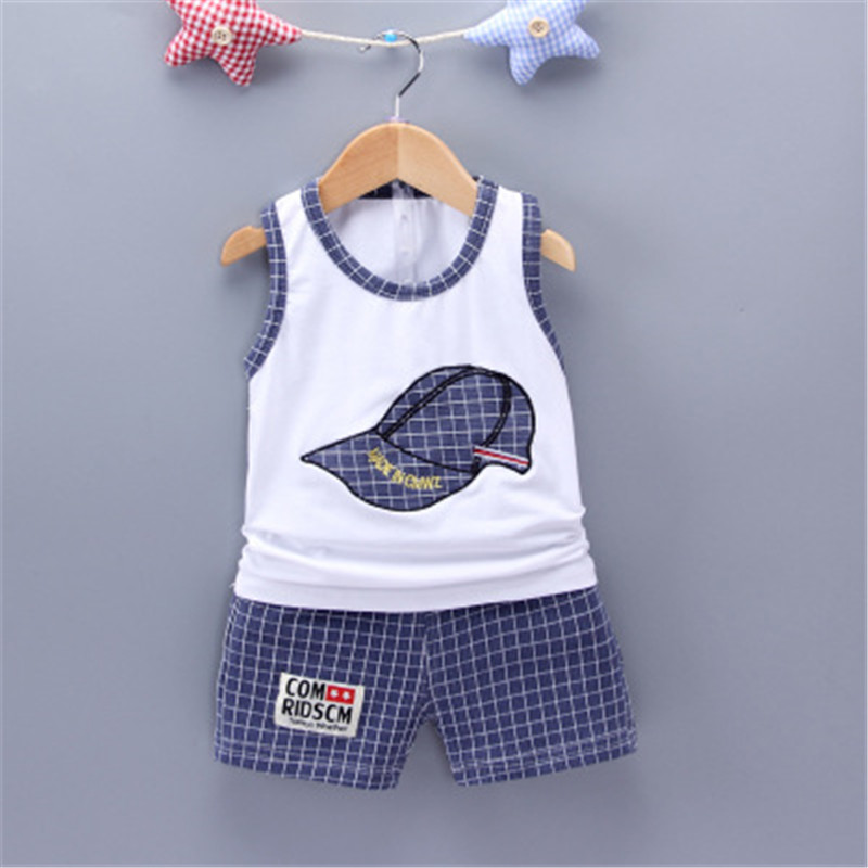 Summer Boy Cartoon Clothing Sets Sleeveless Embroidered Hat Vest Shorts Boy 2Pcs/Set Kids Clothing Sets Toddler Tracksuits