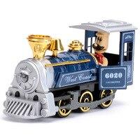 Retro Train Model Steam Locomotive Q Version Door Open Sound Light Alloy Electric Educational Toy Simulation