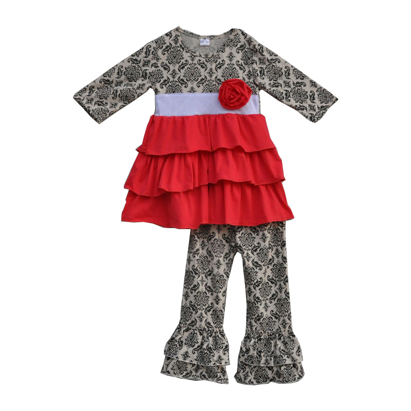 цена на new fashion toddler girls floral outfits red ruffle tunic dress cotton legging baby clothes boutique kids clothing sets F128