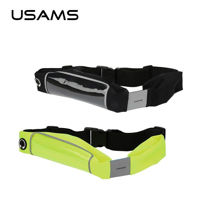 USAMS 5.5 Adjustable Sport Running Waterproof Mobile Phone Case Waist Nylon Mobile Phone Bag for iPhone 6s 6 5s 5 Samsung HTC
