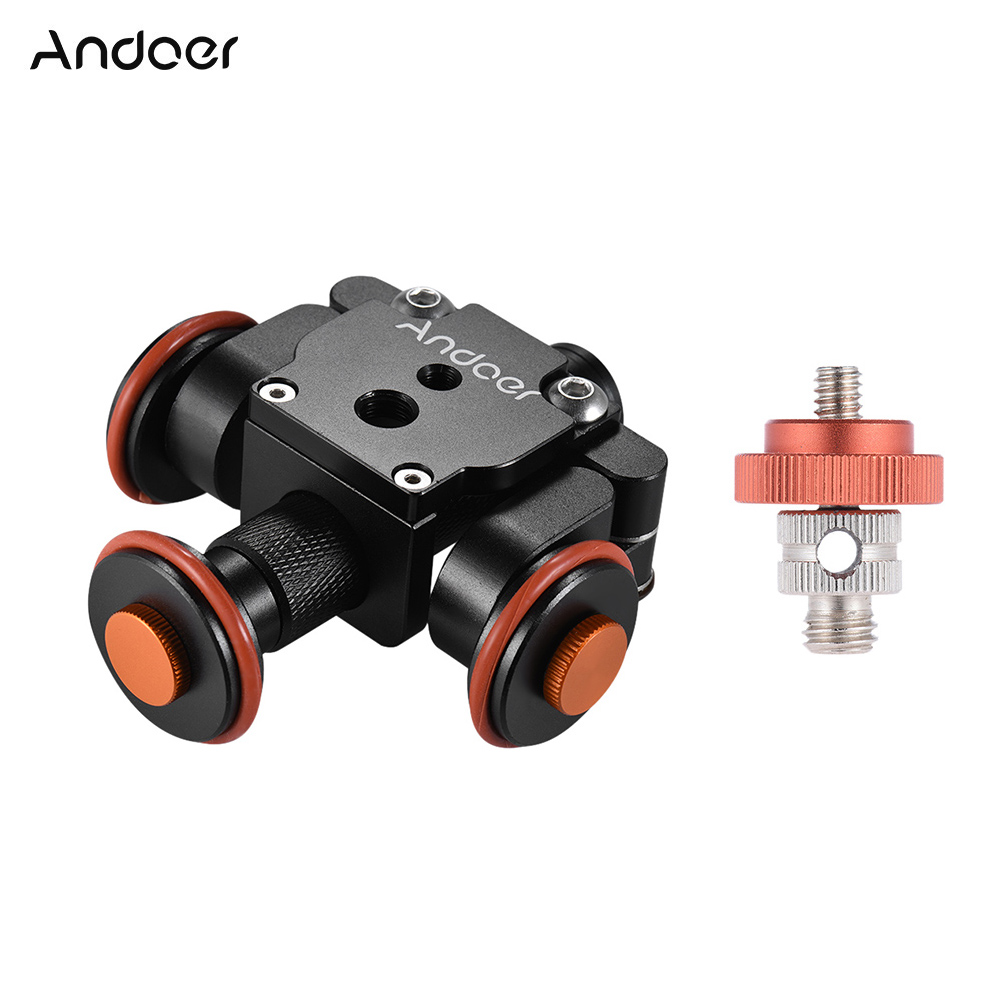 Andoer Electric Motorized 3 Wheel Video Pulley Car Dolly Rolling Slider Skater for Canon Nikon Sony for iPhone X 8 7 Smartphones-in Photo Studio Accessories from Consumer Electronics    1