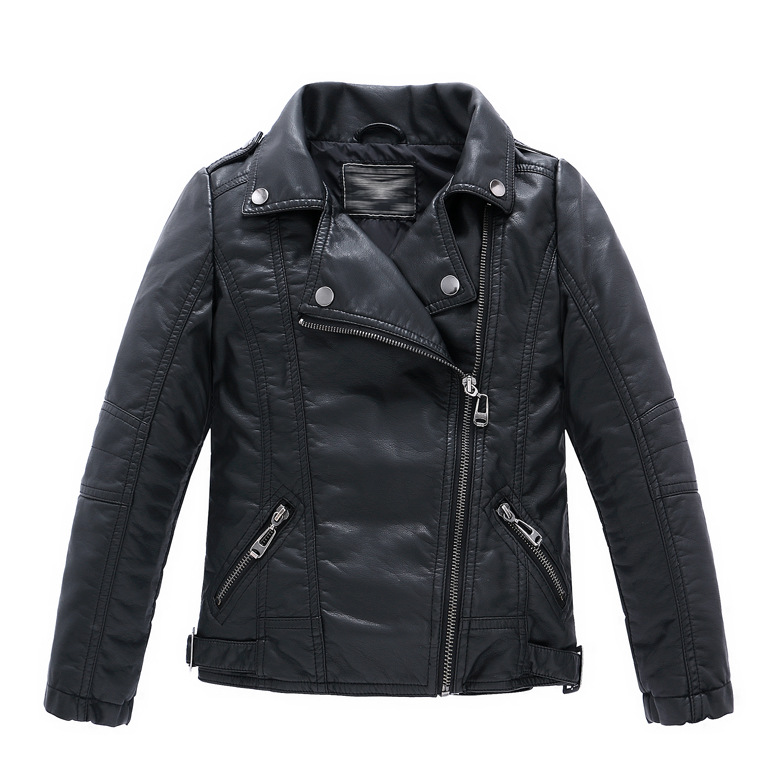 Spring Autumn Children Girls Leather Motorcycle Jackets PU Leather Jackets for Girls And Boys 2-12 Years Kids Outerwear & Coats spring and autumn kids clothes pu leather girls jackets children outwear for baby girls boys zipper clothing coats costume 4 13y