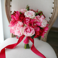 Pink Red Fuschia Wedding Centrepiece Flowers Artificial Rose Orchid Hydrangeas Peony Bouquet Bridal Floral Bouquet