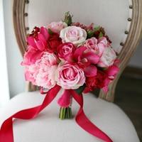 Pink Red Fuschia Wedding Centrepiece Flowers Artificial Rose Orchid Hydrangeas Peony Bouquet Bridal Floral Bouquet