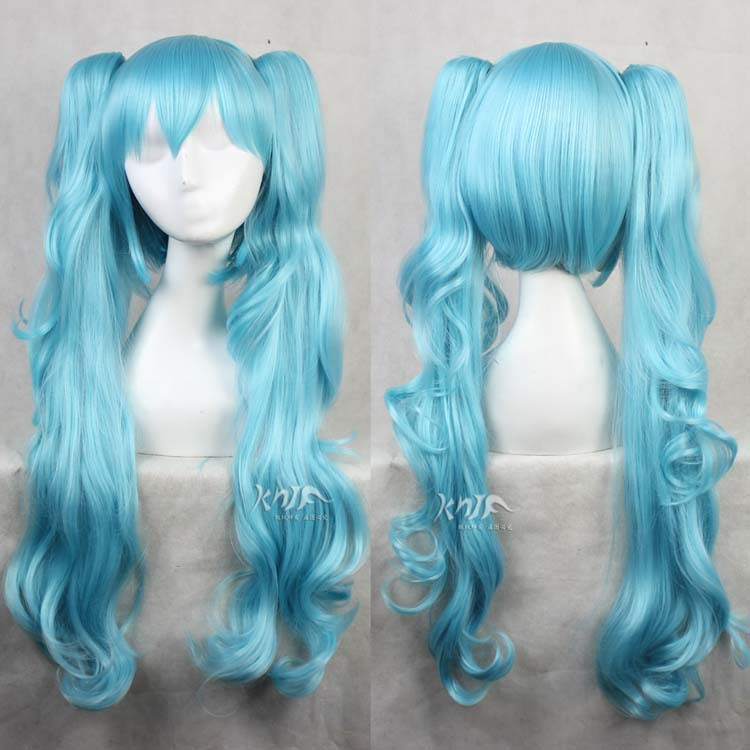 High quality light blue Hatsune Miku hair jewelry 580g 75cm synthetic hair accessories for cosplay wigs лосьон framesi densifying drops