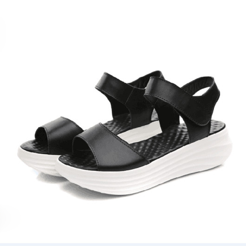 ФОТО Summer Women Sandals 2016 Leather Wedges Sandals Light and Graceful Platform Shoes Leisure Thick Soled Triffle Massage Shoes