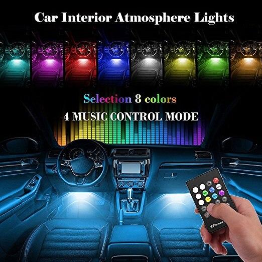 מוסיקה קול שלט רחוק רכב RGB LED ניאון אור RGB מנורת רצועת אווירה דקורטיבית אורות רכב סטיילינג