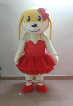 Free shipping in 100% – kind shooting female dog dressing a red ballet skirt mascot costume dog mascot for adults