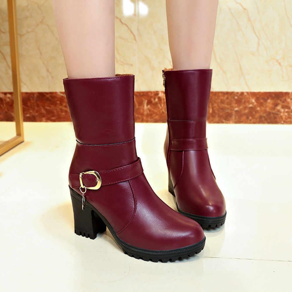 YOUYEDIAN/женские зимние ботинки; коллекция 2018 года; кожаные ботинки на высоком каблуке; женская обувь черного цвета; ботинки с отворотом; сохраняющие тепло; Bota Feminina; размер 40