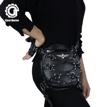 Small Punk Waist Bag Motorcycle Leg Bags Crossbody Leather Phone Case Holder Black Gothic Rivet Fanny Pack Vintage Shoulder Bags