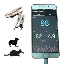 וטרינרית כף יד דופק Oximeter oximetro עבור אנדרואיד טלפון עם פונקצית OTG וטרינר Pulsioximetro צג USB APP 1 חיישן