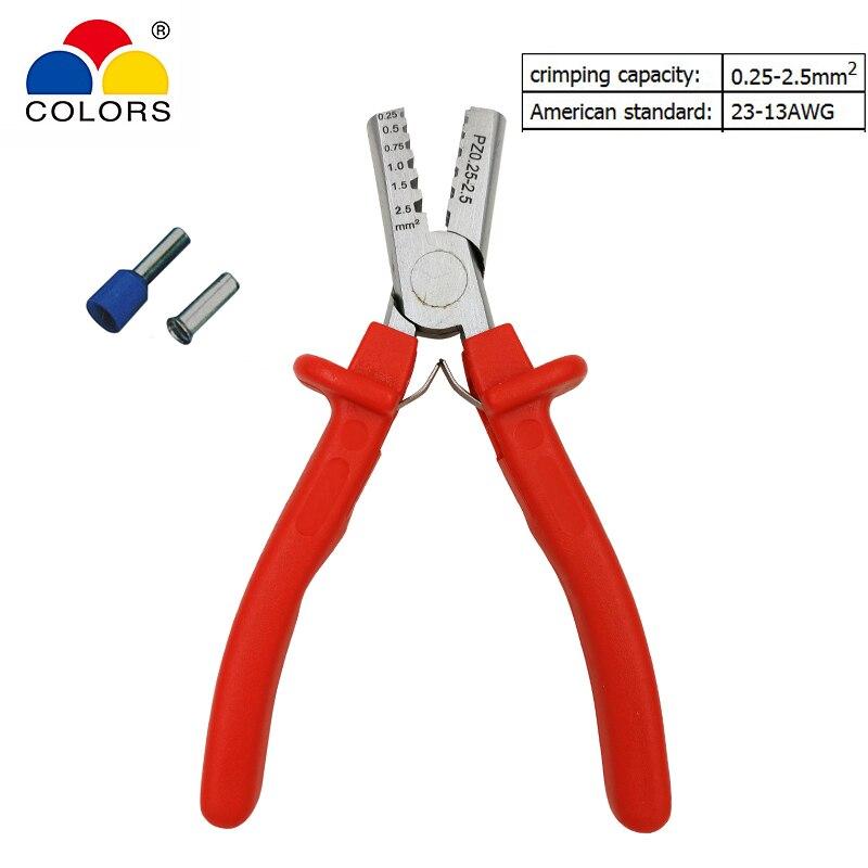 Zangen Farben Pz0.25-2.5 Draht Crimpen Zangen Für Isolierte Und Nicht Isolierte Aderendhülsen Terminal Crimpen Kapazität 0,25-2.5mm2 Awg 23-13 Handwerkzeuge