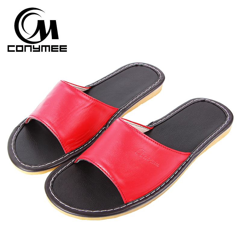 bf24e29600a1cd Detail Feedback Questions about CONYMEE Summer Shoes 2018 Women Indoor Home  Slippers Casual Sneakers Genuine Leather Beach Sandals Non Slip Oxford  Pantufas ...
