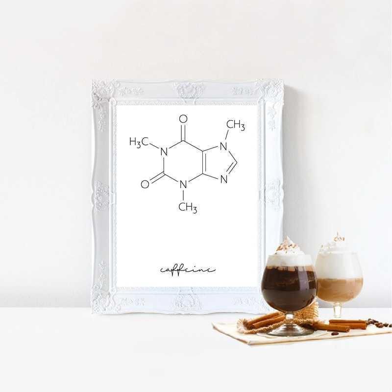 الكافيين جزيء القهوة الكيمياء المشارك طباعة الحد الأدنى ملصقات العلوم الرسم على لوحات القماش الجدارية صورة مقهى متجر الديكور الرسم والخط Aliexpress
